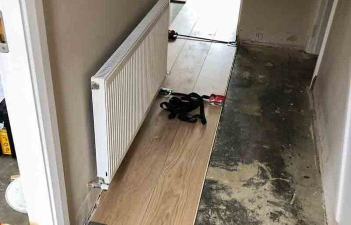 Installed wood floor in a new build Drimnagh