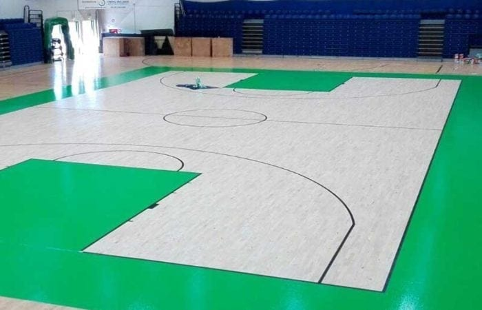 Installing and Sanding school sports halls with line marking like here in the national Basket ball arena 9