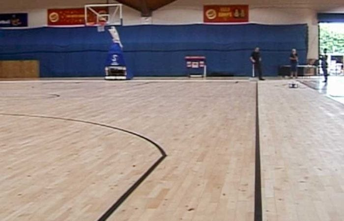 Installing and Sanding sports halls line marking the national Basket ball arena 8