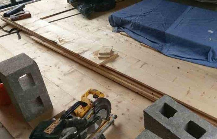Reclaimed large plank floorboard installation Sallynoggin