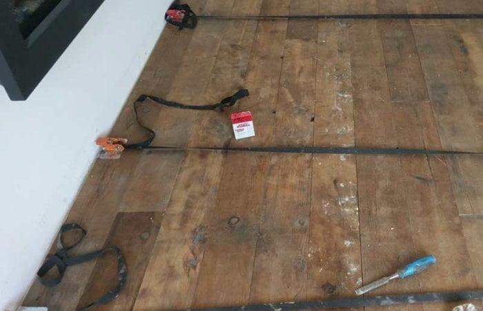 Reclaimed large plank floorboard installation sandymount