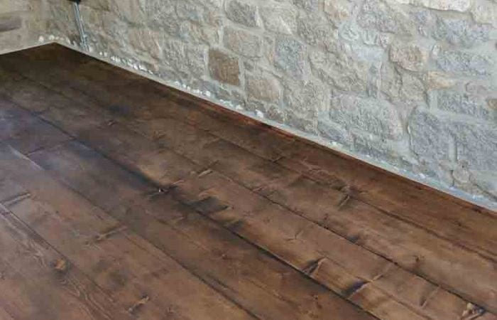 Reclaimed old large plank floorboard installation Drumcondra