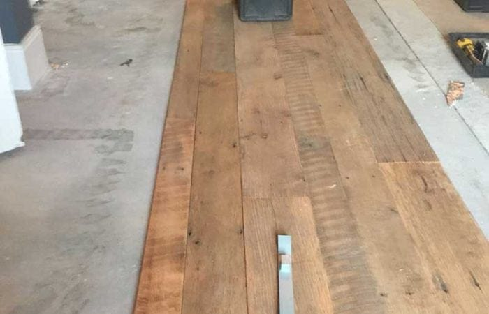 Reclaimed old up cycled plank floorboard installation Malahide