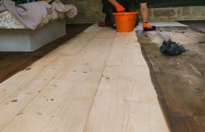Reclaimed old wide plank floorboard installation Ballsbridge