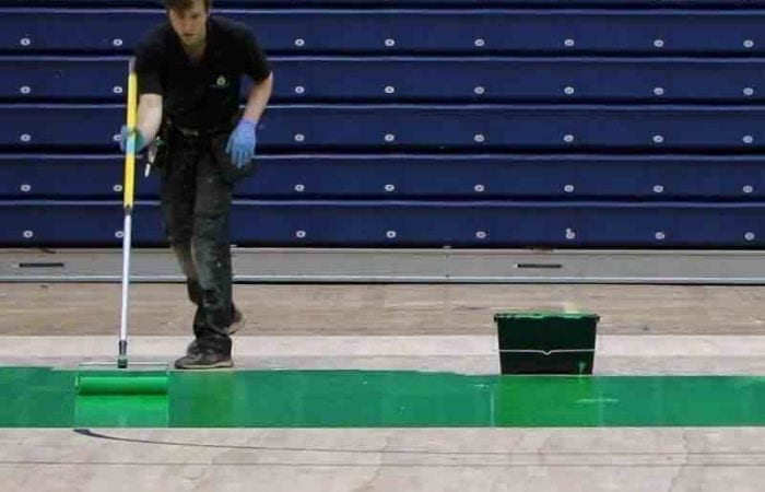 Sand and varnish gym and school sports with new line marking halls national Basket ball arena 6
