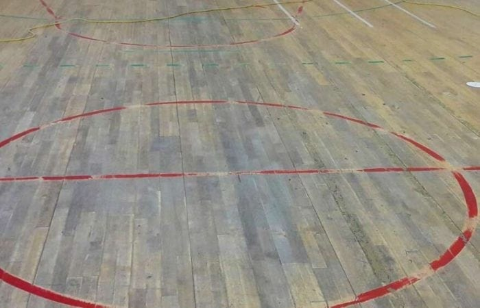 Sanding and line marking for school sports halls old floor in need of refurbishing