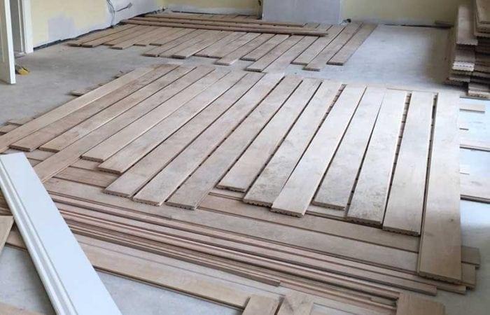Wood floor installation East Wall