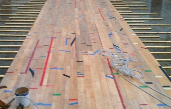 school gym floors reclaimed sports floor floating on batons for sport