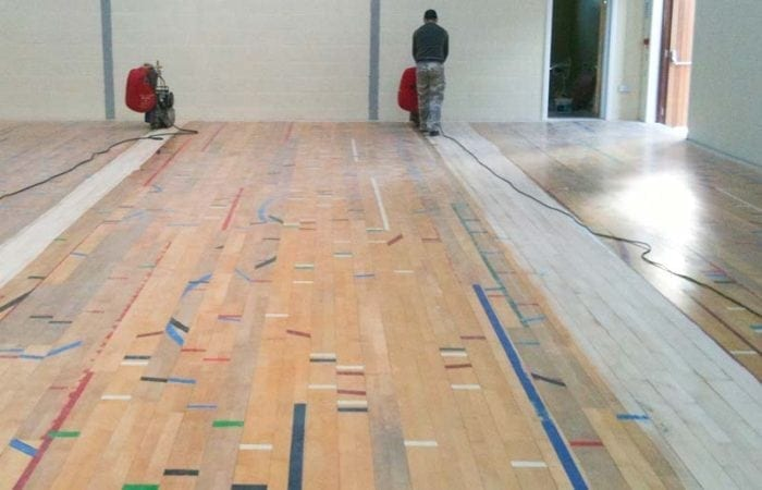 school gym floors dust free sanding of a school sports floor