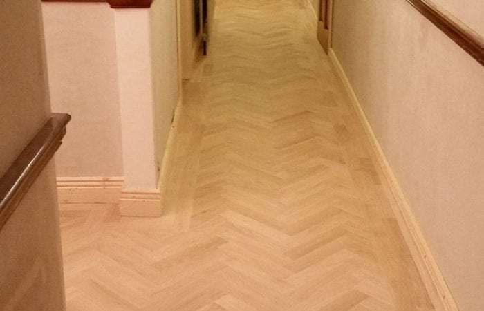 Wood floor in a herringbone pattern Dun Laoighaire