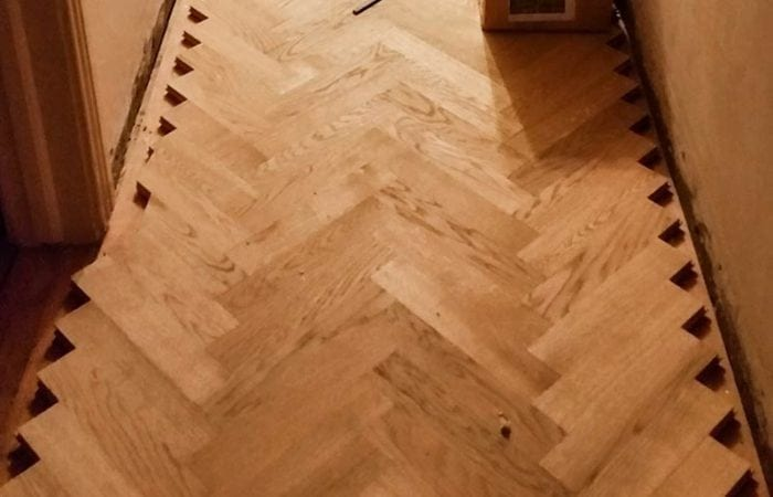 Wood floor in a herringbone pattern Dalkey