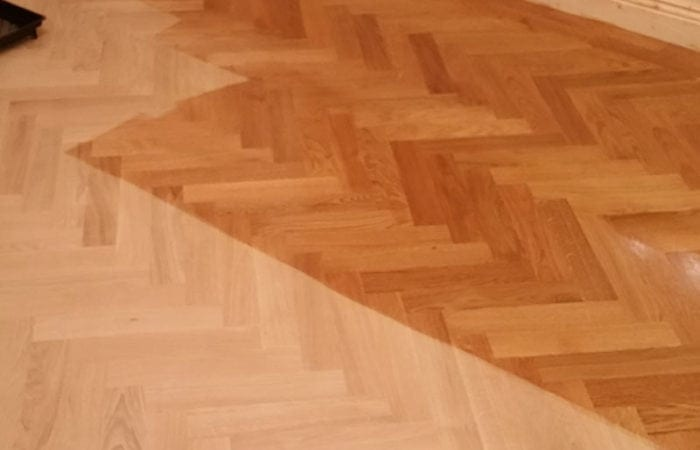 Wood floor in a herringbone pattern Killiney