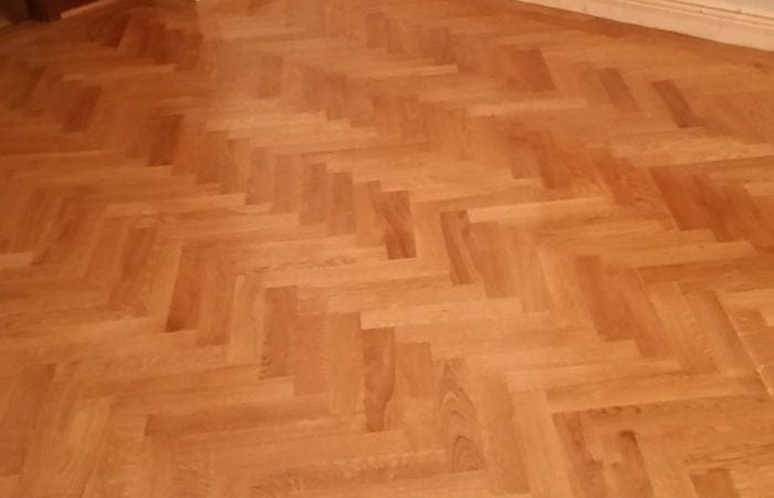 Wood floor in a herringbone pattern Foxrock