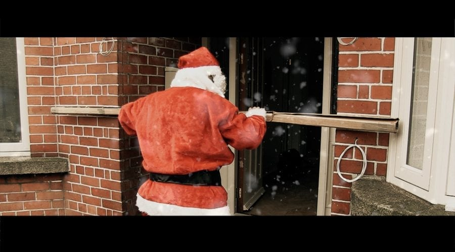 Picture of santa trying to deliver a new wood floor